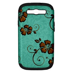 Chocolate Background Floral Pattern Samsung Galaxy S Iii Hardshell Case (pc+silicone)