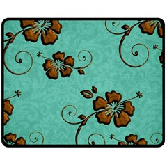 Chocolate Background Floral Pattern Double Sided Fleece Blanket (medium)