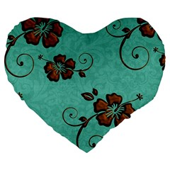 Chocolate Background Floral Pattern Large 19  Premium Flano Heart Shape Cushions