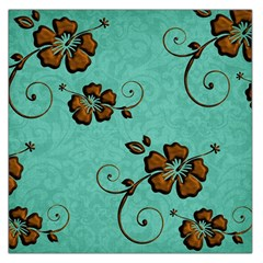 Chocolate Background Floral Pattern Large Satin Scarf (square)