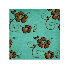 Chocolate Background Floral Pattern Small Satin Scarf (square)