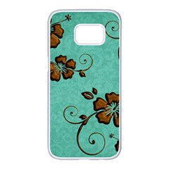 Chocolate Background Floral Pattern Samsung Galaxy S7 Edge White Seamless Case