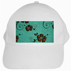 Chocolate Background Floral Pattern White Cap