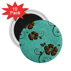 Chocolate Background Floral Pattern 2 25  Magnets (10 Pack)