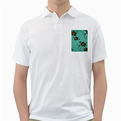 Chocolate Background Floral Pattern Golf Shirts