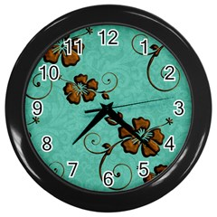 Chocolate Background Floral Pattern Wall Clocks (black)