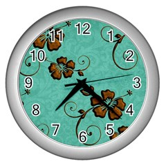 Chocolate Background Floral Pattern Wall Clocks (silver)