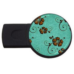 Chocolate Background Floral Pattern Usb Flash Drive Round (2 Gb)