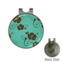 Chocolate Background Floral Pattern Hat Clips With Golf Markers