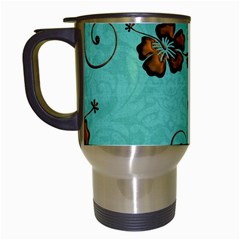 Chocolate Background Floral Pattern Travel Mugs (white)