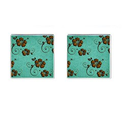 Chocolate Background Floral Pattern Cufflinks (square)