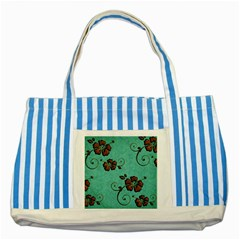 Chocolate Background Floral Pattern Striped Blue Tote Bag