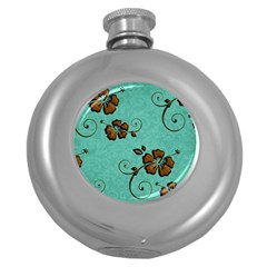 Chocolate Background Floral Pattern Round Hip Flask (5 Oz)