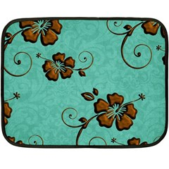 Chocolate Background Floral Pattern Double Sided Fleece Blanket (mini)