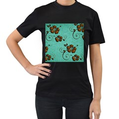 Chocolate Background Floral Pattern Women s T Shirt (black)