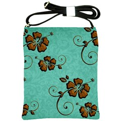 Chocolate Background Floral Pattern Shoulder Sling Bags