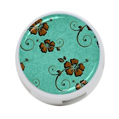 Chocolate Background Floral Pattern 4 Port Usb Hub (one Side)