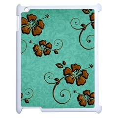 Chocolate Background Floral Pattern Apple Ipad 2 Case (white)