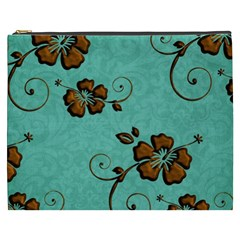 Chocolate Background Floral Pattern Cosmetic Bag (xxxl)