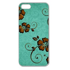 Chocolate Background Floral Pattern Apple Seamless Iphone 5 Case (clear)