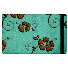 Chocolate Background Floral Pattern Apple Ipad 2 Flip Case