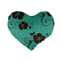 Chocolate Background Floral Pattern Standard 16  Premium Heart Shape Cushions