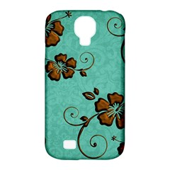 Chocolate Background Floral Pattern Samsung Galaxy S4 Classic Hardshell Case (pc+silicone)