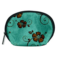 Chocolate Background Floral Pattern Accessory Pouches (medium)