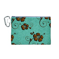 Chocolate Background Floral Pattern Canvas Cosmetic Bag (m)