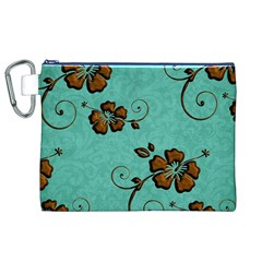 Chocolate Background Floral Pattern Canvas Cosmetic Bag (xl)