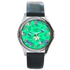 Pattern Seamless Background Desktop Round Metal Watch