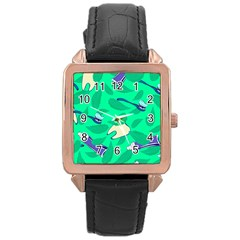 Pattern Seamless Background Desktop Rose Gold Leather Watch