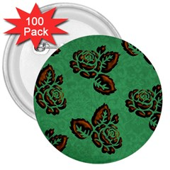 Chocolate Background Floral Pattern 3  Buttons (100 Pack)