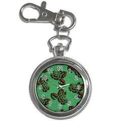Chocolate Background Floral Pattern Key Chain Watches