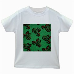 Chocolate Background Floral Pattern Kids White T Shirts