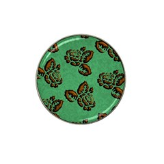 Chocolate Background Floral Pattern Hat Clip Ball Marker (4 Pack)