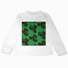 Chocolate Background Floral Pattern Kids Long Sleeve T Shirts