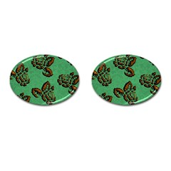 Chocolate Background Floral Pattern Cufflinks (oval)