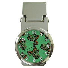 Chocolate Background Floral Pattern Money Clip Watches