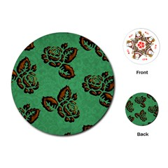 Chocolate Background Floral Pattern Playing Cards (round)