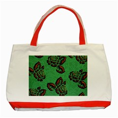 Chocolate Background Floral Pattern Classic Tote Bag (red)