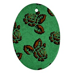 Chocolate Background Floral Pattern Oval Ornament (two Sides)