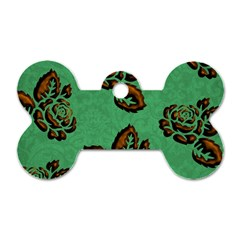 Chocolate Background Floral Pattern Dog Tag Bone (one Side)