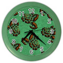 Chocolate Background Floral Pattern Color Wall Clocks