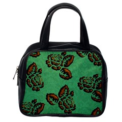 Chocolate Background Floral Pattern Classic Handbags (one Side)