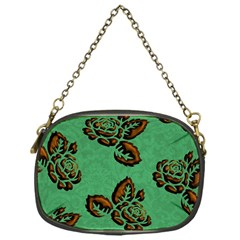 Chocolate Background Floral Pattern Chain Purses (one Side)