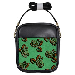 Chocolate Background Floral Pattern Girls Sling Bags