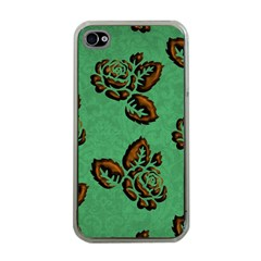 Chocolate Background Floral Pattern Apple Iphone 4 Case (clear)