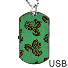 Chocolate Background Floral Pattern Dog Tag Usb Flash (two Sides)