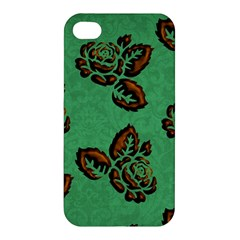 Chocolate Background Floral Pattern Apple Iphone 4/4s Premium Hardshell Case